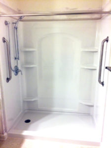 Sterling Ensemble Shower with Hand held shower head mounted on slide bar