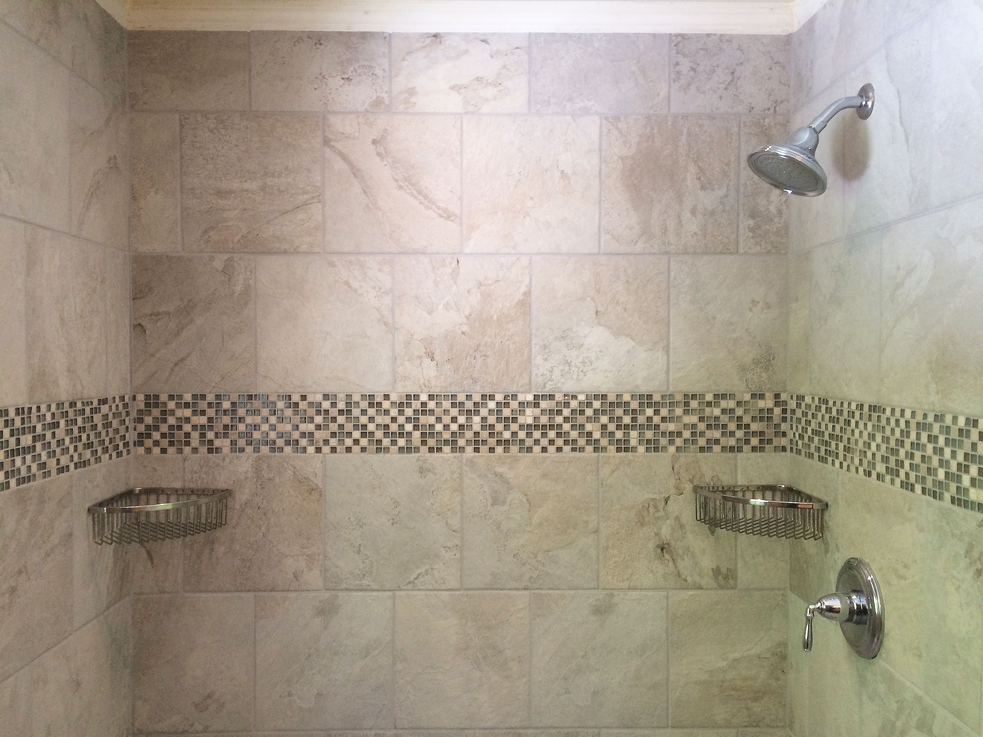 Bathroom tile corner trim -  Spa Smoked Gray Grout W 2 Kohler Large Baskets Chrome Mounted Corner Baskets Kohler Devonshire Shower Trim W Devonshire 2 5 Gpm Shower Head Chrome