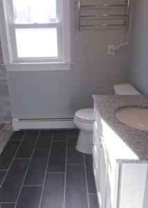 Tile Shower, Tile Floor, shaker vanity