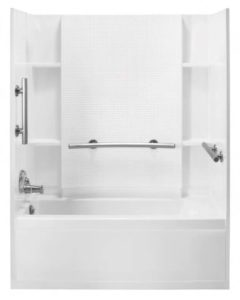 Sterling Accord Tub/Shower. Tile back wall and smooth side walls
