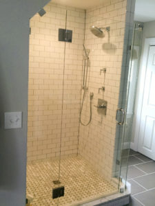 Subway Tile with upgrades such as Custom Glass Corner, Glass Door etc