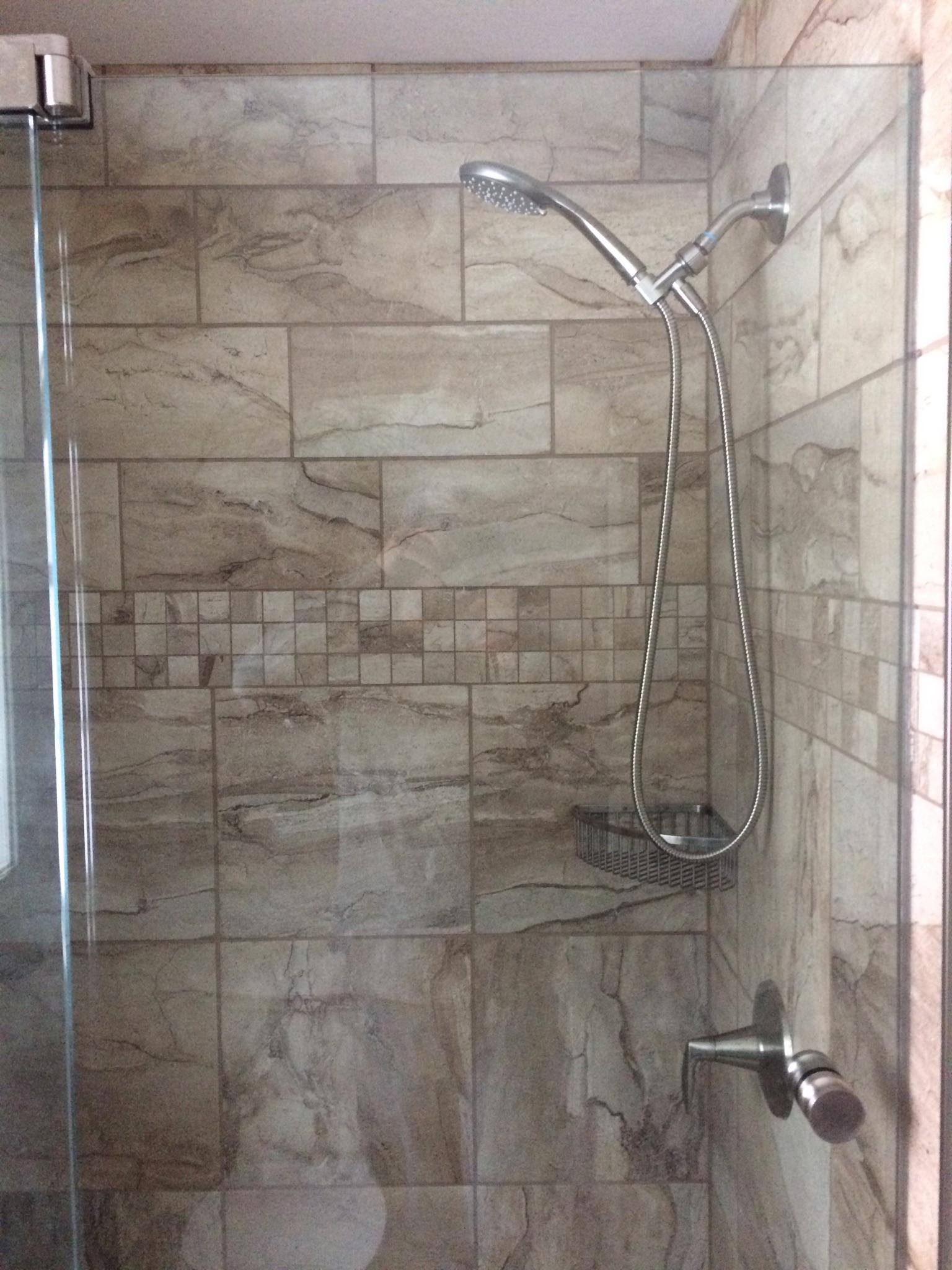 48″ Custom Tile shower, with Basco Rhoda pivot door | NH ...